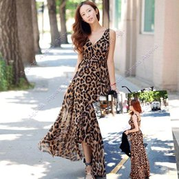 Wholesale Women Vintage V neck Sexy Leopard Chiffon Long Maxi Evening Cocktail Party Dress SV005510