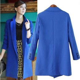 Wholesale the latest big yards of autumn winters in the women s pure color long fashion leisure small suit
