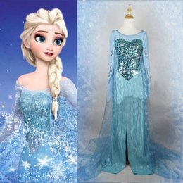 Wholesale 2014 New Arrival Hot Sale Adult Little Mermaid Costumes Movie Frozen Princess Elsa Dress Cosplay Costume Adult Women Fancy
