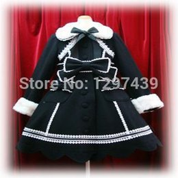 Wholesale Custom Made Lovery Princess Sweet Lolita Coat Wool Overcoat Black Gothic Lolita Punk Coat Wool Blended Winter Clothes