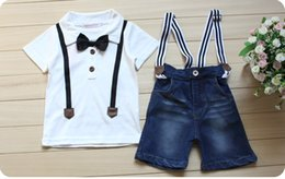 Wholesale free ship Summer Boy Clothing Set Short Sleeve With Bow Tie Shirt And Suspender Jeans Children cotton Clothes Suits Baby Wear Hot Sale