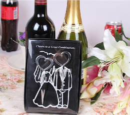 Wholesale Wine Bottle opener Heart Shaped Great Combination Corkscrew and Stopper Heart Shaped Sets Wedding Favors Gift sets