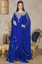Wholesale 2015 Dubai Kaftan Long Arabic Evening Dresses Royal Blue Scoop Beading Abaya robe with Long Sleeves