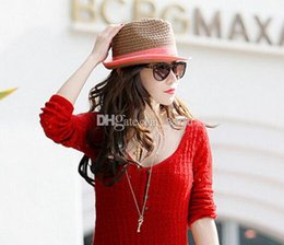 Wholesale New Arrive Fashion straw Wide Brim Hats sun hat for women formal jazz leisure hats in summer