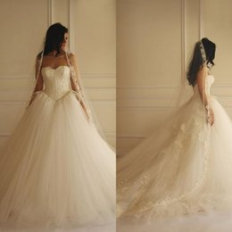 Wholesale 2015 Yasmine Yeya Lace Tulle Ball Gown Wedding Dresses Affordable Customized Sweetheart Neckline Corset Backless Court Train Bridal Gowns