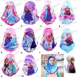 Wholesale 2015 New Arrival HOT children headscarf fashion Froze girls Muslim headscarf Anna and Elsa printing kids Scarf T172
