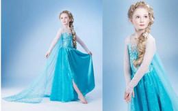 Wholesale Princess Clothes Frozen Elsa Princess Dresses Elsa Anna Dresses Costume Kids Halloween Party Dress