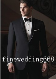 Wholesale High quality Black Shawl Collar One Button Groom Tuxedos Wedding Party Groomsman Suit Wedding Party Suit Jacket Pants Tie Girdle