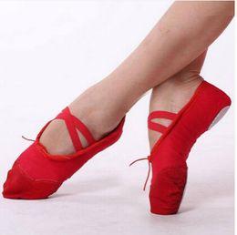 Yoga para adultos zapatos de baile zapatillas de ballet 4 colores Niño Ballet zapatos de baile de Split Sole zapatilla de la aptitud de la gimnasia de lona
