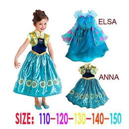 Wholesale Frozen dresses Frozen Fever Girl Elsa Blue Dress Anna Dresses Kids Summer Gauze Clothing Princess Short Sleeve White Lace Party dress