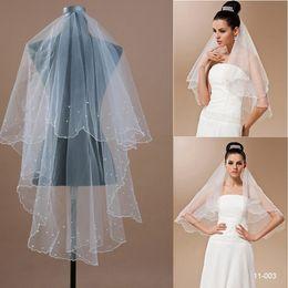 Wholesale 2015 Hot Sale T White Ivory Wedding Bridal Pearls Scallop Edge Women s Veils Bridal Accessories