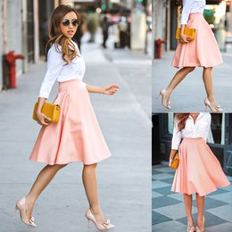 Wholesale Women Short Stretch high Waist Skirt Plain Skater Flared Pleated Mini Dress Pink