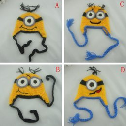 Wholesale 4 Design Despicable me crochet hats NEW Baby cartoon minions Costume Handmade Crochet Knitted Hat Animal Mouse Head Beanie Cap G146