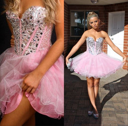 Wholesale Pink Cheap Prom Homecoming Dresses A Line Sweetheart Sleeveless China Beaded And Crystals Corset Back Tulle Semi Formal Dress Short