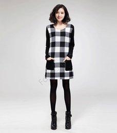 Wholesale 2015 Fashion Autumn Winter Plaid Dress Women Long Sleeve O neck Party Dress Slim Splicing Dress B21 CB035172