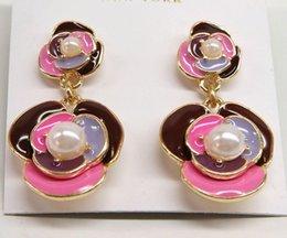 Wholesale European and American fashion jewelry KS enamel glaze colored wild flowers pearl earrings temperament earrings SD008
