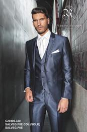 Wholesale New arrival Slim Fit Navy Blue Handsome Wedding Ceremony suit Groom Tuxedos Bridegroom Suit Jacket Pants Tie Vest