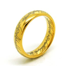 us size 6 to 13 the tungsten carbide one ring of power width 6mm gold silver black lord of the rings - The One Ring Wedding Band