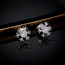 Wholesale Sweet Temperament Snowflakes A Silver Diamond Fashion Stud Earrings