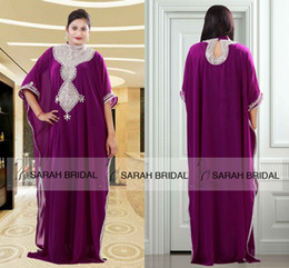 Wholesale 2015 A Line Grape Dubai Abaya Kaftan Evening Dresses Luxury Long Party Gowns Prom Dresses with High Neck Luxury Beadings and Crystals