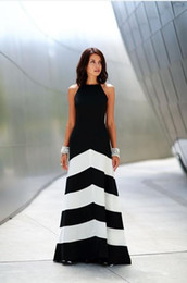 Wholesale 2015 Women Hot Fashion Black and White Stripe Splicing Backless Sleeveless Dresses Floor Length Long Casual Party Maxi Dress
