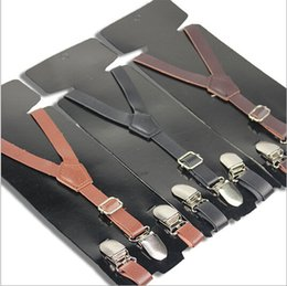 Wholesale Lovely Baby Boys Girls Clip on Suspender Y Shap Faux Leather Clip on Adjustable Braces Shoulder Belt Brace Boys Girls Trousers Folder
