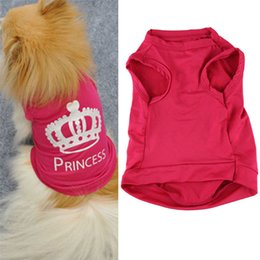 Discount wholesale shirts for summer Stylish 2015 fashion summer Pet Dog Cat Cute Princess T-shirt Clothes Vest Summer Coat Puggy Costumes clothes clothing for dogs TY421