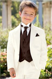 Wholesale Ivory Boys Formal Occasion Tuxedos Boy Birthday Party Suits Prom Business Suits Boy Flower Girl Dress Jacket Pants Vest Tie NO