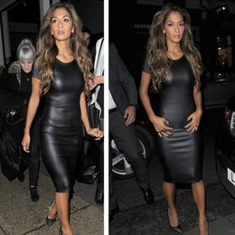 Wholesale Fashion Women Bandage Dress Ladies PU Dress Leather Sexy Party Bodycon Women s Crew Neck Clubwear Midi Casual Dress G0372