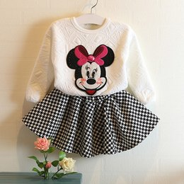 Wholesale Autumn Korean Girls Mickey Suits Cartoon Dress set jumper Plaid skirt Fashion children s outfits minnie mouse clothes clothing