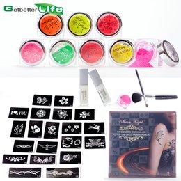 Wholesale GLITTER TATTOO KIT boys girls VALUE stencils glitters glue brushes