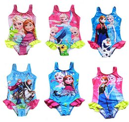 Wholesale 5 Summer Kids Baby Girl Child One piece Disfraz Infantil Cute Princess Elsa Anna Beach Swimming Bather Swimwear S0140133