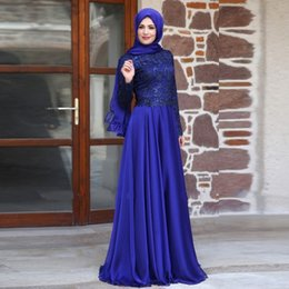 Wholesale 2015 Muslim Evening Dresses A line Long Sleeves Royal Blue Lace Hijab Islamic Dubai Abaya Kaftan Elegant Long Evening Gown Prom Dresses