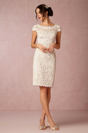 Wholesale Vintage Short Lace Wedding Dresses Sheath Scoop Backless With Sleeves Knee Length Simple Garden Bridal Gowns Elegant Bridesmaid Clothes