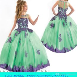 Wholesale Mint Beauty Girl Pageant Dresses For Little Girls Pageant Gowns Kids Ball Gowns Flower Girls Wedding Dresses Princess Crystals