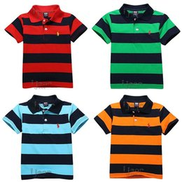 Wholesale Hot Sell Summer Children s Polo Shirts Kids Of Big Boy Size Years Infantil Wear Cotton Two Stripe Red Yellow Bue Green Color