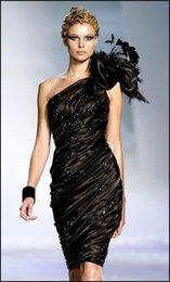 Uno 2015 vestidos de coctel hombro a corto mini envoltura de la colmena Negro tramo satinado con cuentas plumas flor grandes de Zuhair Murad vestidos de noche