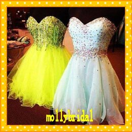 Wholesale Charming Short Homecoming Dresses Sweetheart A line Tulle Sexy Open Back Sequin Crystal Bodice Beading Ruffles and Layers For Girls