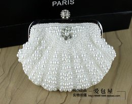 Wholesale 2015 Hot Selling Mini Bridal Hand Bags Pearls Shell Shape Bags Dinner Bags Fashion Modern Evening Bags B