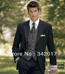 Wholesale Custom Made Groom Tuxedos Black Best Man Notch Lapel Bridegroom Groomsmen Men Wedding Suits Jacket Pants Tie Vest