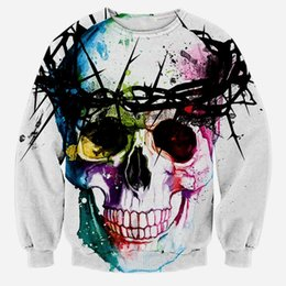 W1215 Fashion Punk Sketch Skulls Flower Colorful Crewneck Sweatshirts Men Fleece Harajuku 3d Sweatshirt Print Women Long Sleeve Hoodie