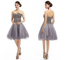 Wholesale Gray Organza Short Homecoming Dresses Sexy Sweetheart Short Prom Evening Dress Sequins Rhinestone Corset Knee Length Coktail Gown Cheap
