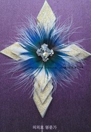 Wholesale Wedding emcee corsage Ms and man brooch bow tie Feather diamond cross a corsage