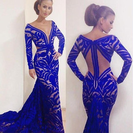 Wholesale Royal Blue Plunging Neckline Lace Mermaid Prom Dresses Sheer Sexy Long Sleeve Backless Floor Length Evening Gowns Women Pageant Dresses