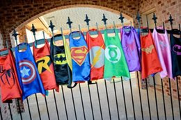 Wholesale 2015 New Superhero Capes double layer kids cosplay support mixed orders Halloween costume christmas gift direct sale Multiple choices