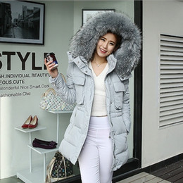 Wholesale Womens Down Coat Real Big Raccoon Fur Printed Outerwear New Winter Warm With Belt Butoon Cardiagn Clothing Down Parkas CC