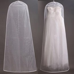Wholesale 2015 Fast Shipping Wedding Dress Bags White Dust Bag Travel Storage Dust Covers Bridal Accessories For Bride Garment Cover Soft Tulles