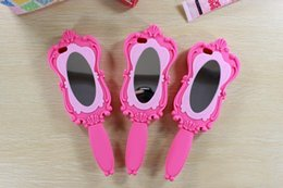 Wholesale Cosmetic Mirror Magic D Barbie Girl Beautiful Doll Pink Soft Silicone GEL Case for iPhone S S Plus inch