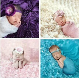 Wholesale X100cm Newborn Baby Photography Props D Rose Fabric Blanket Backdrop Rosette Fabric Bridal Wedding Backdrop