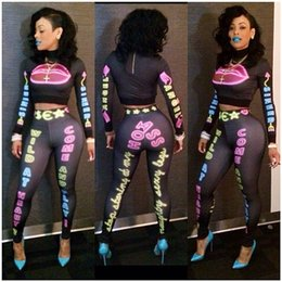 Wholesale Women European Style Sexy Fashion Nightclub Conjoined Suit Printed Long Sleeve Tops And Leggings Clothing Set